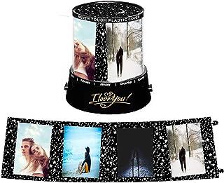 Souljewelry Lámpara Nocturna Personalizada con Sus Fotos y Nombres Lámpara de Proyección Giratoria Creativa Regalo Romántico para Parejas Familias Amigos (A giratoria)