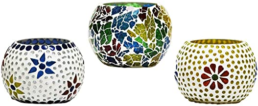 CraftJunction Handcrafted Mosaic Glass Tea Light Holder(3 * 3 Inches, Set of 3)