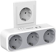 TESSAN USB Stekker Adapter, 3 Stopcontacten met 2 USB Poorten (2,4 A), 5 in 1 USB Stopcontact met Schakelaar, USB Oplader ...