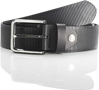 LINDENMANN men's leather belt/men's belt, full grain leather, black