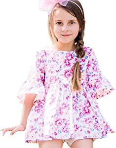 JYC 2019 Baby Girl Dresses Toddler Kids Summer Floral Printed Bell Sleeve Dress Outfits