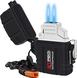 فندک دو مشعل JETPRO قاب ضد آب جداشونده را با تسمه یا طناب اضطراری Survival قرار دهید