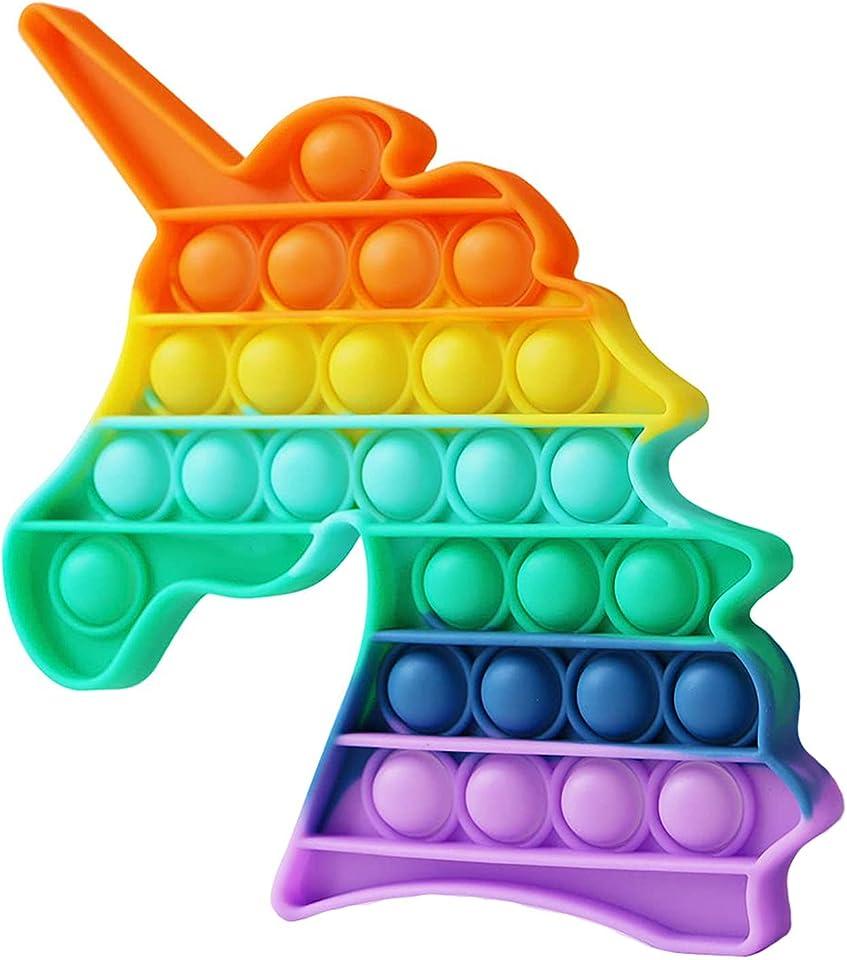 OKSANO Regenbogen Pop It Fidget Spielzeug, Push Pop Bubble Sensory Fidget Spielzeug, Pop es Spiel Angst Stress Reliever Squeeze Fidget Pop Spielzeug Brettspiele für Kind Erwachsene Ältere (Unicorn)