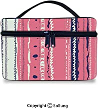 Coral Cute Cosmetic Bag Doodle Lines Artistic Repeating Ornaments Vertical Stripes Abstract PastelPortable Artist Storage Bag,9.8x7.1x5.9inch,Coral Indigo Coconut