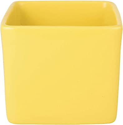 Exotic Green Square Shape Yellow Ceramic Pot Without Plant (Pot/Planter/Gamla)