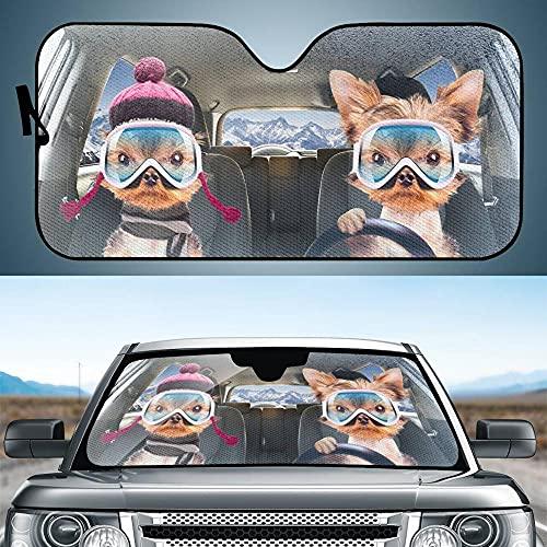 Encantador Divertido Perros Auto Sombrilla Protector Bloquea Los Rayos UV Máximos Y Mantiene Su Vehículo Fresco, Árbol De Sol De La Ventana Delantera del Coche Plegable para La Mayoría De Los CAM