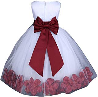 Pink Promise White Wedding Flower Petals Girl Pageant Dress with Bow