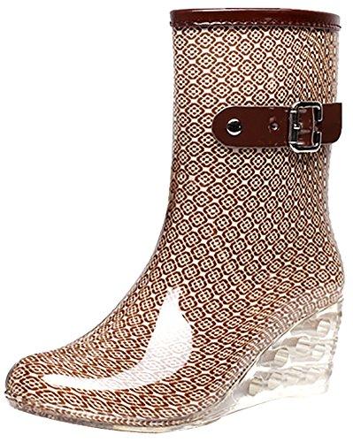 Odema Damen Ankle High Rain Boots Side Zipper Wedge High Heel Wasserdichte Schuhe Winter Schnee Gummistiefel Bootie, (Beige-kariert.), 38.5 EU