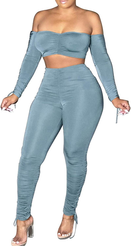 超人気 Sexy Two Piece Outfits for Women Shoulder Skinny Off アウトレットセール 特集 Crop Top Lo