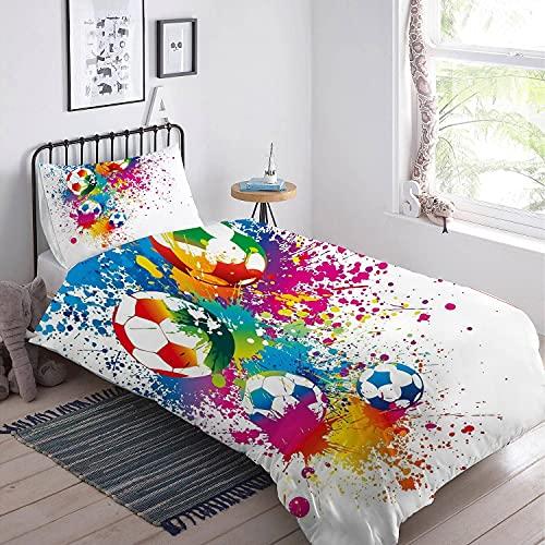 MUSOLEI Ropa de cama infantil de fútbol, 135 x 200, juvenil, tinta de salpicaduras, color rojo, ropa de cama para niños, con cremallera suave, microfibra, funda de almohada de 80 x 80 cm
