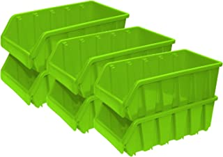 Basicwise Plastic Storage Stacking Bins, Green (Pack of 6)