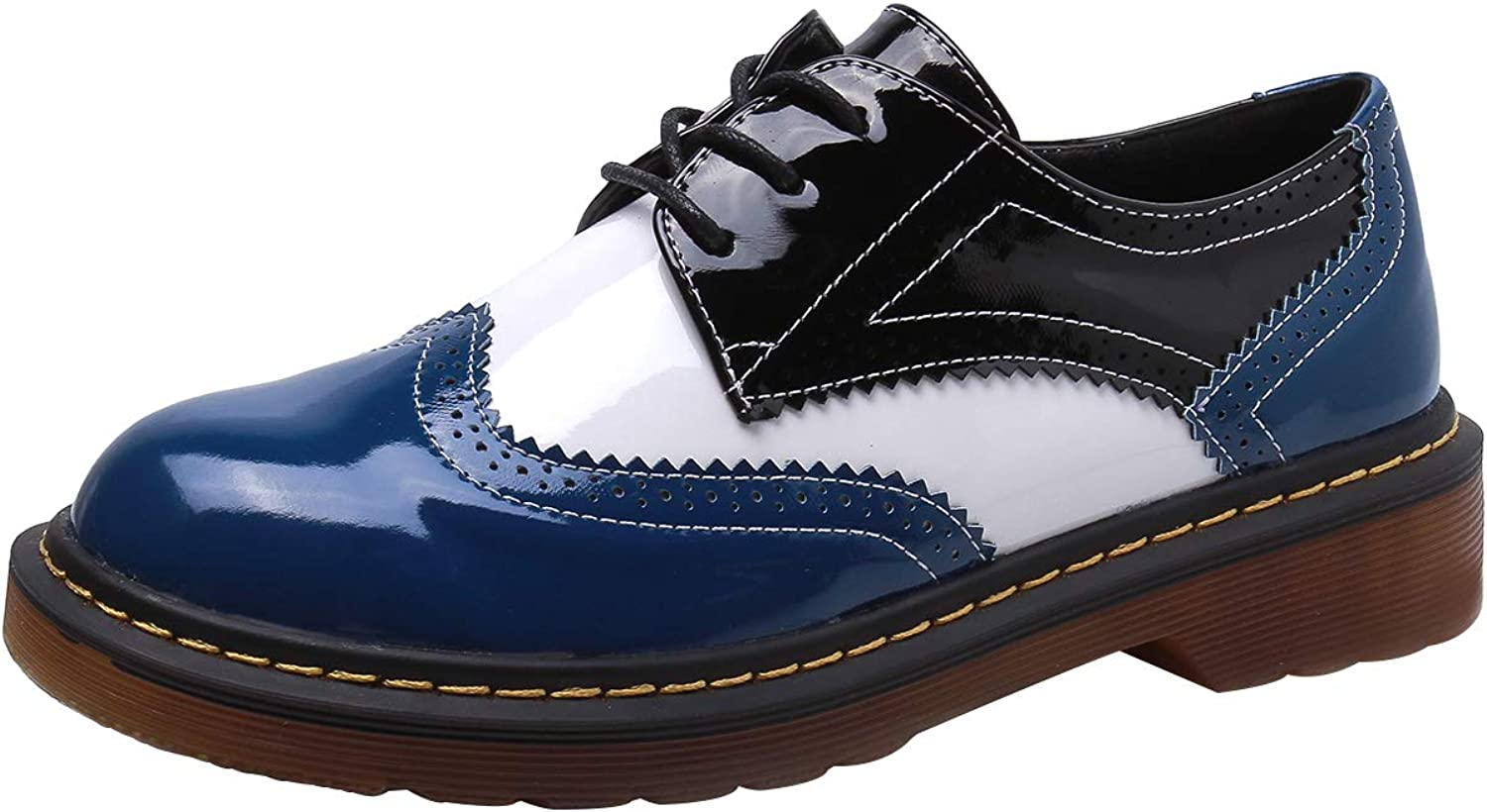 Sekesin Womens Lace-up Wingtip Patent Leather Flat Oxford shoes Derby Brogues