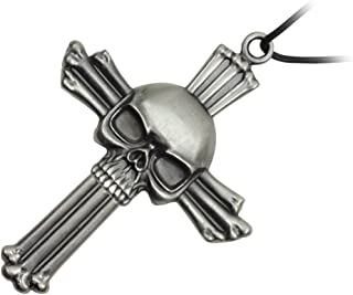 Silver Skull on Cross Neck Knife with Hidden Blade and Necklace