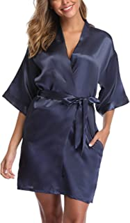 UrHot Women's Short Kimono Robe Bridal Party Robe for Bridesmaid Satin Sleepwear