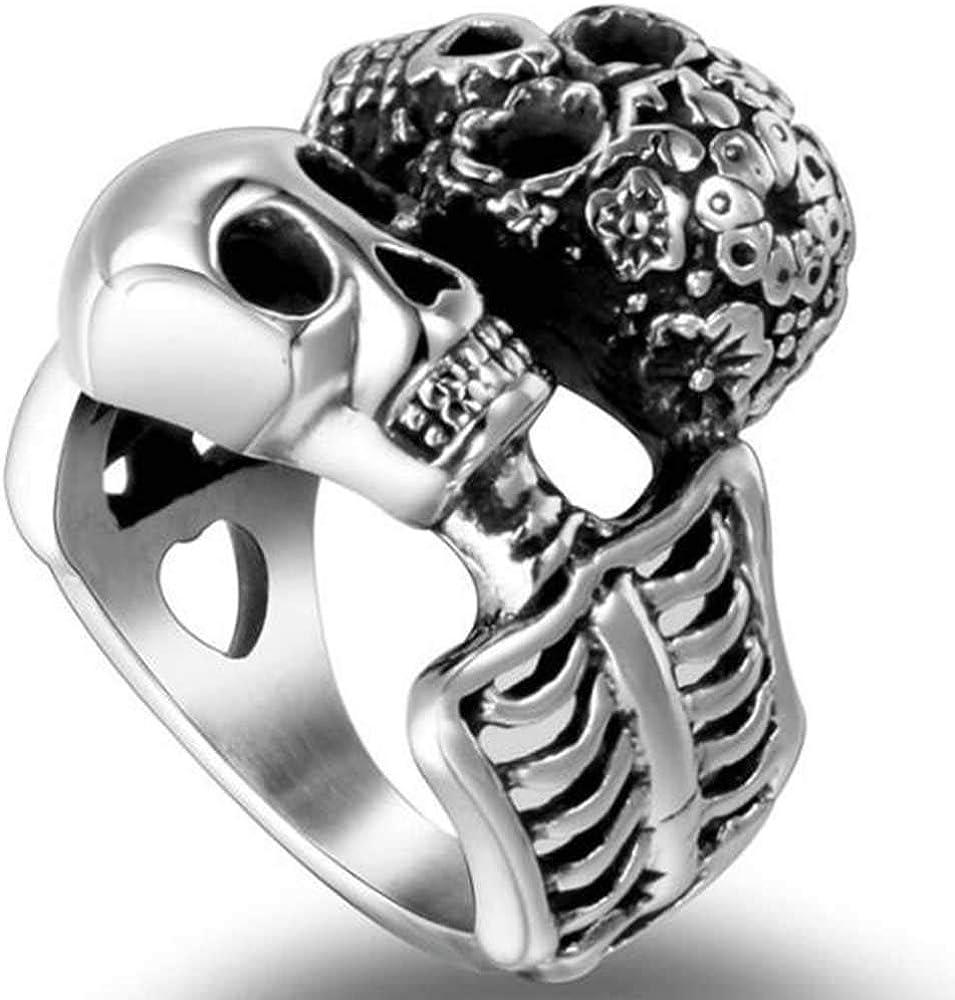 Stainless Steel Gothic Skull Retro Vintage Death Halloween Biker Skeleton Cocktail Party Statement Ring