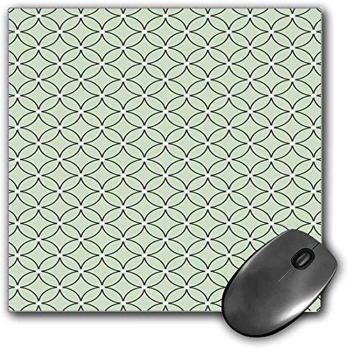 Mouse Pad Gaming Funcional Cuatrifolio Alfombrilla de ratón gruesa impermeable para escritorio Valla de cultura oriental marroquí inspirada en forma de arte redondo,verde pistacho y negro Base de goma
