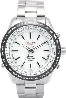 [エルジン]ELGIN GPS衛星電波腕時計 スイス製ムーブ オールステンレス 100M防水 ホワイト GPS2000S-W メンズ