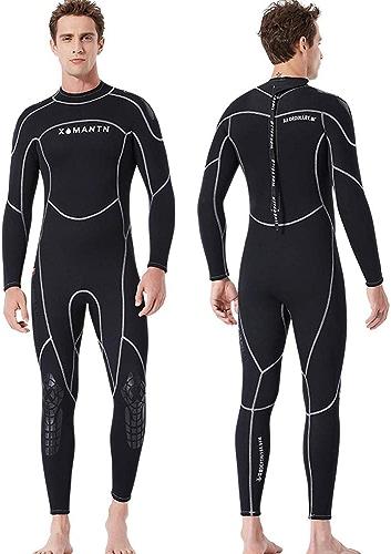 Clluzu 3 MM Combinaison de plongée Costume Masculin Siamois Chaud Maillots de Bain Hiver Manches Longues Surf crème Solaire vêteHommests Néoprène