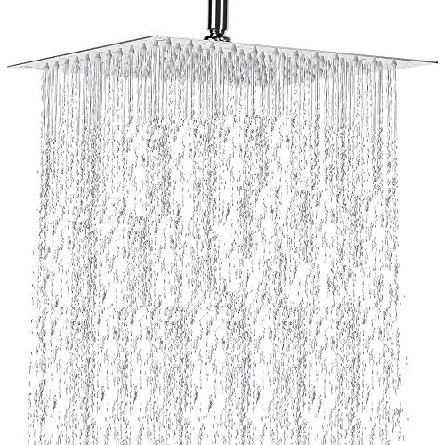 Buy Bargain ShowerHead RainfallHigh Pressure Large Square Rain Shower Head Stainless Steel Celling F...
