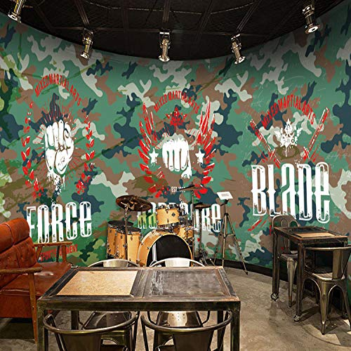 CSZBH Mural 3D Self-Adhesive Wallpaper (W) 450X (H) 300Cm Stereo Camouflage Military War Military 3D Wallpaper Living Room Bedroom Children'S Room Office Tv Background Wall Paper 3D Mural Wall Art