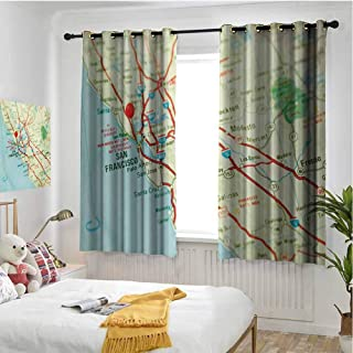 hengshu Map Shading Insulated Curtain Vintage Map of San Francisco Bay Area with Red Pin City Travel Location for Living Room or Bedroom W63 x L63 Inch Pale Blue Pale Green Red