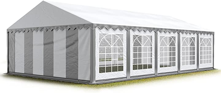 Tendone per feste 5x10 m pvc grigio-bianco 100% impermeabile gazebo da giardino toolport 6173