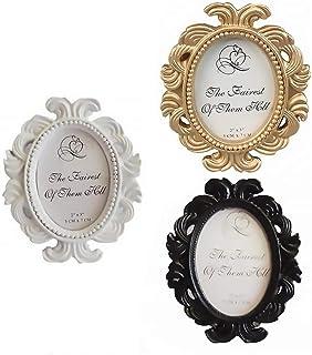 PRETYZOOM - 3 cornici portafoto ovali in stile vintage, decorazione rétro da tavolo per la casa e foto del matrimonio