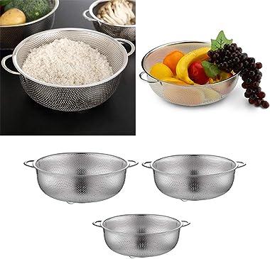 Flameer 3pcs Fruit Vegetable Fine Mesh Wash Strainer Colander Kitchen Supplies