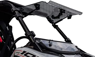 SuperATV Heavy Duty Scratch Resistant Clear Flip Windshield for Polaris RZR RS1 (2018+) - 250X Stronger Than Glass - 3 Windshields in 1!