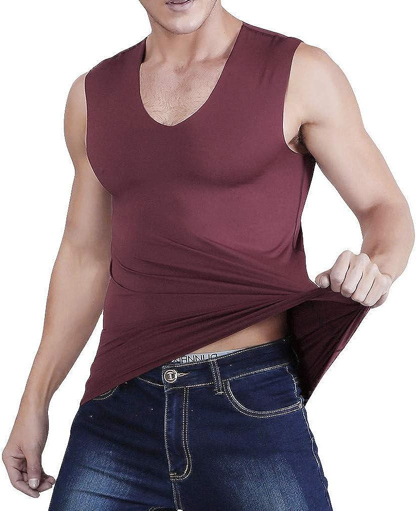 F_Gotal Men Gym Tank Tops Slimming Body Seamless Tank Tops V Neck Workout Shirts Bodybuilding Sleeveless Fitness Vest