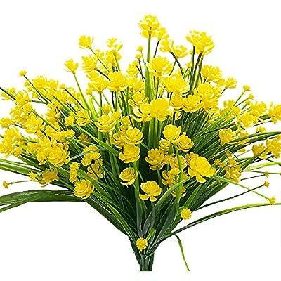 Artificial Fake Flowers, 4 Bundles Outdoor UV Resistant Greenery Shrubs Plants Indoor Outside Hanging Planter Home Garden Décor