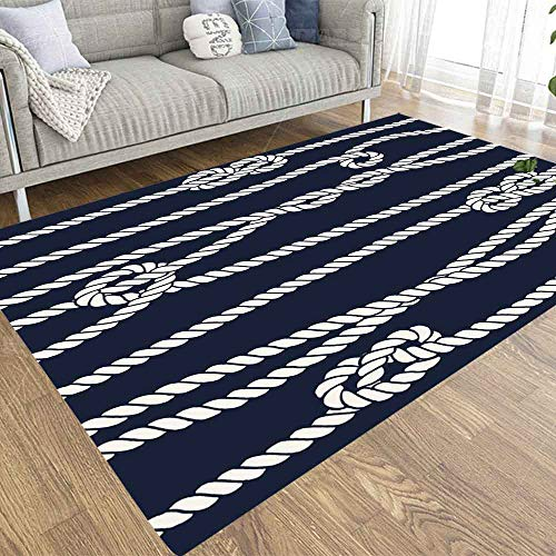 Soft Area Rug,Doocilsh 3X5 Area Rug of Indoor Outdoor Kids,Boys,Girls Area Rugs Use Marine Rope Knot Pattern Navy White Ornament Nautical Knots Dark Background Fabric Wrapping Figure Half
