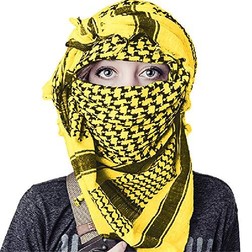 TACVASENタクティカルアラブスカーフミリタリーアフガンストールサバゲーチェック柄マフラーコットン男女兼用黄色
