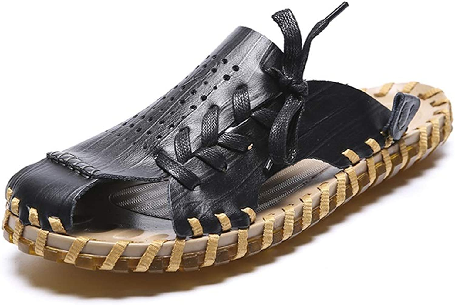 Easy Go Shopping Men's Sandals Casual and Comfortable Lace Up with Three colors Handmade Beach shoes Cricket shoes
