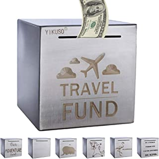ZSYKD Safe Piggy Bank for Adults,Boys,Girl, Made of Stainless Stell, Safe Box Money Savings Bank for Lover,Thanks Giving Gift,Can Only Save The Piggy Bank That Cannot be Taken Out(Travel Fund)