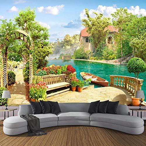 rylryl 3D papel pintado jardín vista del lago pintura sala de estar dormitorio decoración mural-200x140cm