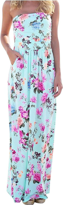 GOODTRADE8 Dresses Maxi Dress Summer Dress Sundress Women's Casual Sleeveless Printing Breast Wrap Floor-Length Dress