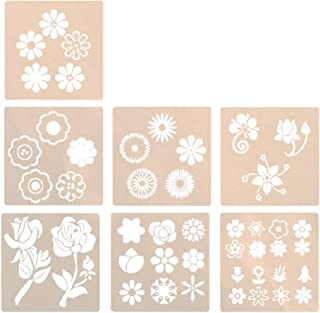 TOYANDONA 7Pcs Flowers Stencils Template Drawing Stencils Reusable Craft Template Gifts for Kids Art Painting Wood Greetin...