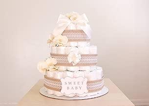 3 Tier Natural Lacey Burlap Diaper Cake / Baby Shower Centerpiece / Baby Shower Centerpiece / Flower Elegant Princess / decoration / gender natural