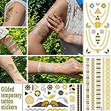 3 Piezas Bronceado Tatuaje Temporal Pegatinas Metal Bronce Tatuaje Multi Patrones Lámina De Metal Cálido Plata Mujer Muñeca Impermeable Flash Tatuaje