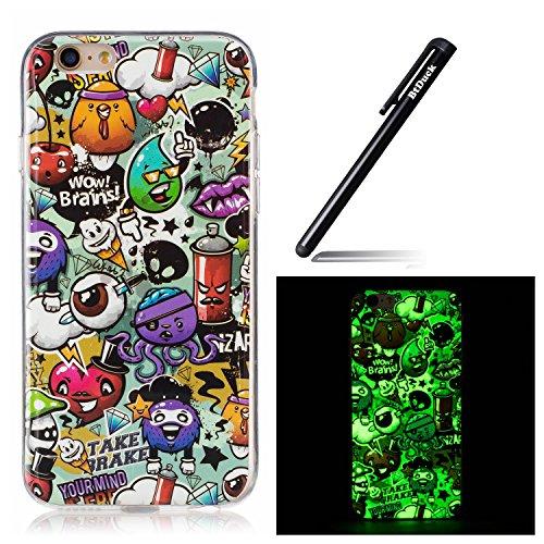 BtDuck Ultra Slim iPhone 6S Hülle Silikon Muster Leuchten In Der Nacht Handyhülle für iPhone 6/6S 4.7 Crystal Luminous Transparente Back Case Durchsichtig Schutzhülle Gel Bumper Case