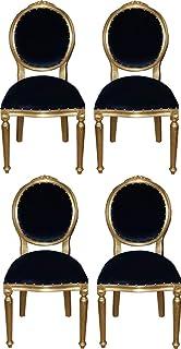 Casa Padrino Conjunto de Comedor Barroco Medallón Azul Real/Oro 50 x 52 x H. 99 cm - 4 Sillas de Comedor Hechas a Mano - Muebles Barrocos