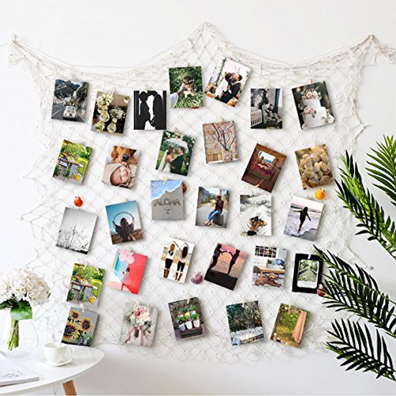 HAYATA ??Photo Hanging Display with 40 Clip Fishing Net Wall Decor - Picture Frames & Prints Multi Photos Organizer & Collage Artworks - Nautical Decorative Dorm Bedroom Christmas Decorations