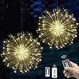 Fuego artificial de luces de iluminación para fiestas, bodas, jardines, decoración (blanco cálido, 2 unidades)
