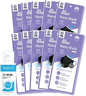Air Queen Black Nano Mask 10 Packs, Large Size and One Time Usage Hand Sanitizer, 2ml 1 Pack, Inex Mask Made in Korea
