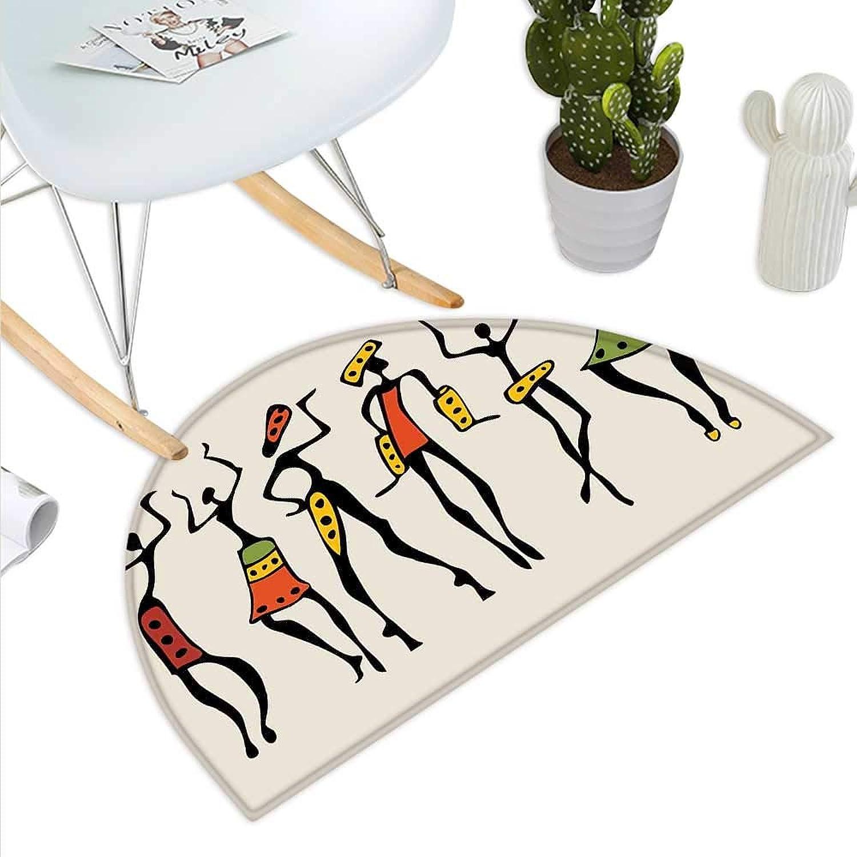 African Semicircle Doormat African Group Clan Dancers Ethnic Characters in Sketchy Festival Hand Drawn Artwork Halfmoon doormats H 31.5  xD 47.2  Multicolor