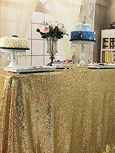 Mantel de Mesa Rectangular Mantel de Lentejuelas con Purpurina Mantel de Oro Rosa para la decoración del hogar del Banquete de boda-120cmx150cm, China