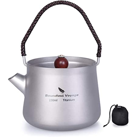 iBasingo Po/êle en Titane avec poign/ée Pliante pour Camping Soupe Bol po/êle /à Frire et Pique-Nique