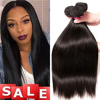 QinMei Brazilian Straight Hair 3 Bundles 8A 100% Virgin Unprocessed Human Hair Weave Extensions Brazilian Remy Straight Human Hair Bundles Natural Black Color (16 18 20 inch)