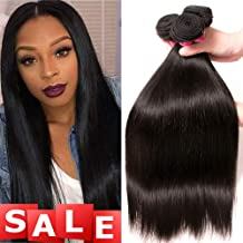 QinMei Brazilian Straight Hair 3 Bundles 8A 100% Virgin Unprocessed Human Hair Weave Extensions Brazilian Remy Straight Human Hair Bundles Natural Black Color (20 22 24 inch)